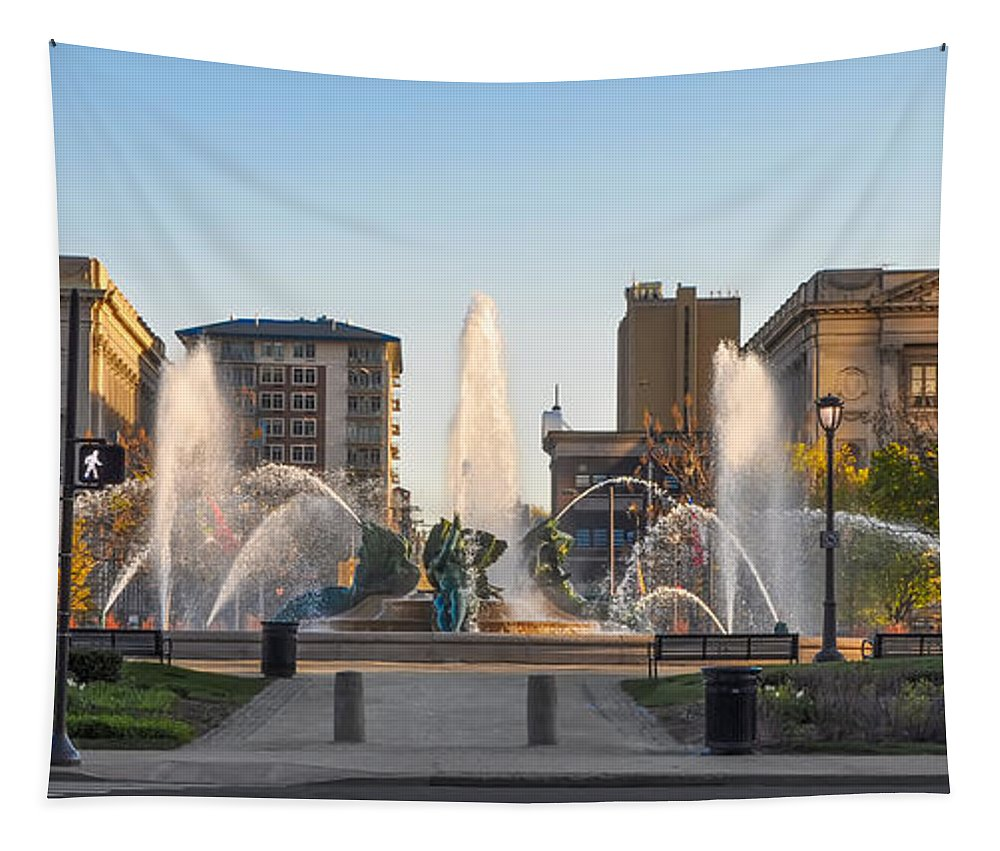 Swann Tapestry featuring the photograph Swann Fountain In The Springtime by Bill Cannon