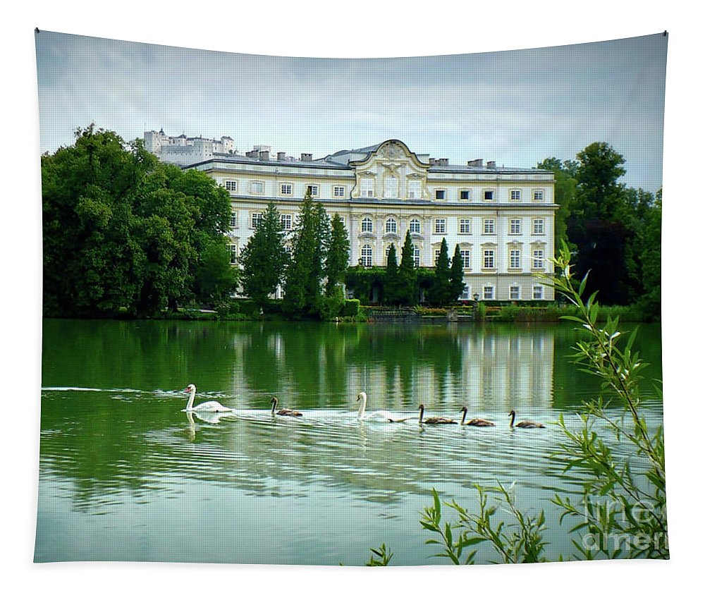 Austrian Lake Tapestry featuring the photograph Swans On Austrian Lake by Carol Groenen