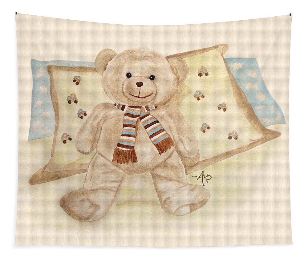 Cuddly Animals Tapestry featuring the painting Sweet Dreams by Angeles M Pomata