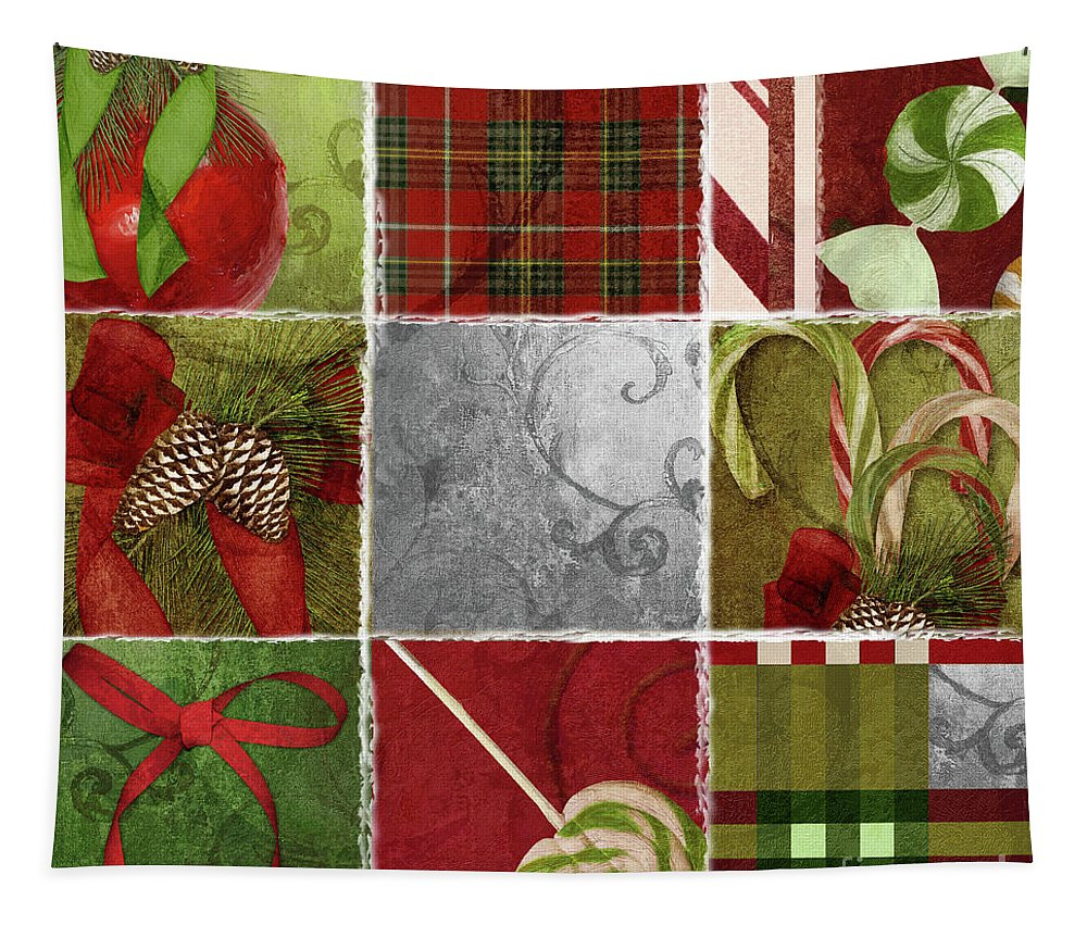 Christmas Patchwork Tapestry featuring the painting Sweet Holiday IIi by Mindy Sommers