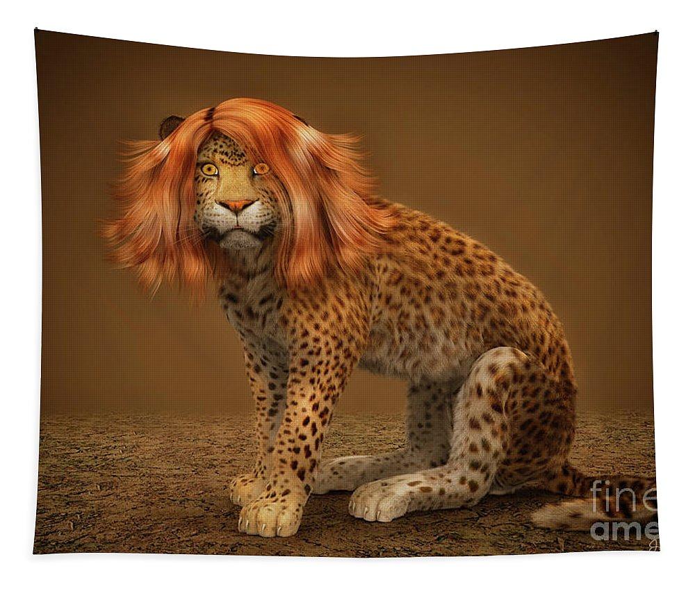 3d Tapestry featuring the digital art Sweet Lady Leopard by Jutta Maria Pusl