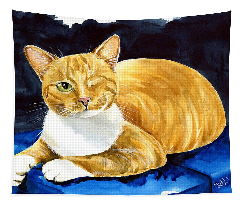 Cat Tapestry featuring the painting Sweet Melon - Ginger Tabby Cat Painting by Dora Hathazi Mendes