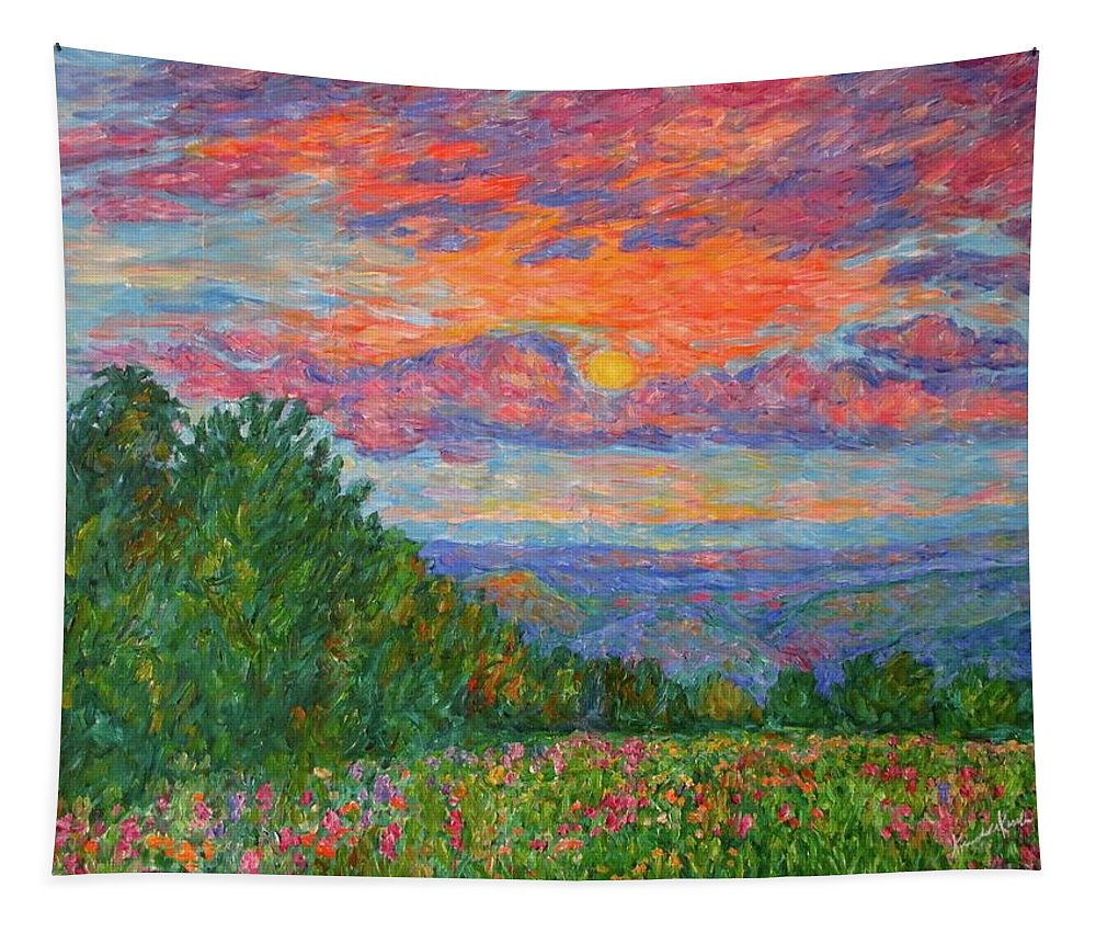 Landscapes For Sale Tapestry featuring the painting Sweet Pea Morning on the Blue Ridge by Kendall Kessler