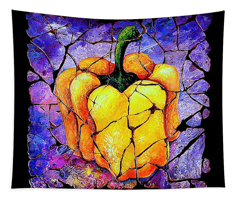 Sweet Pepper Fresco Antique Tapestry featuring the painting Sweet Pepper by OLena Art Brand