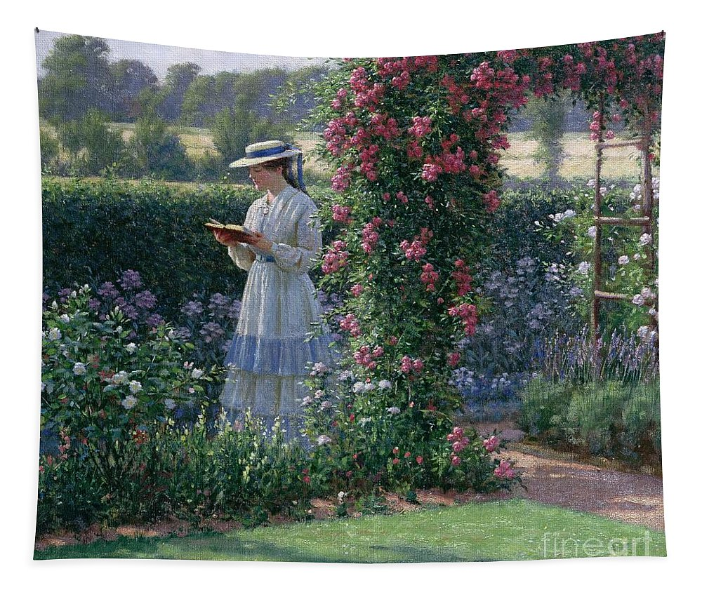 Garden; Reading; Book; Woman; Lawn; Flower;rose; Bed; Hedge; Climbing; Arch; Path Tapestry featuring the painting Sweet Solitude by Edmund Blair Leighton