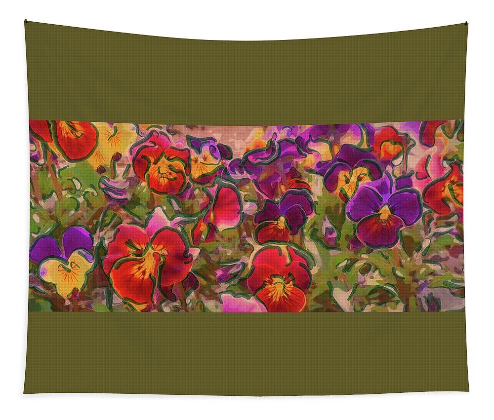 Wild Flowers Tapestry featuring the digital art Sweet Viola by Leslie Montgomery