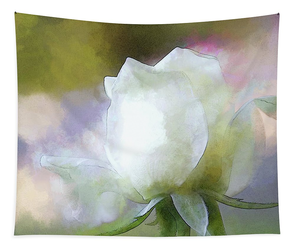 Rose Tapestry featuring the digital art Sweet White Rose by Terry Davis