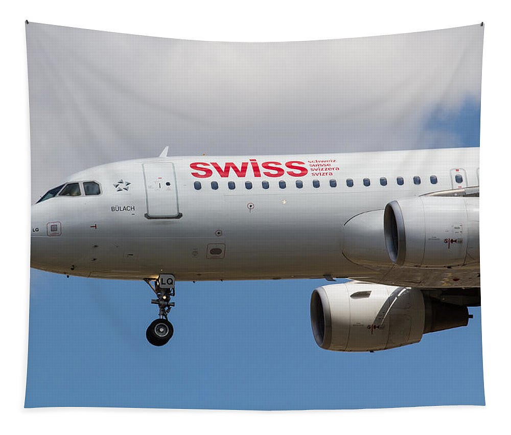 Swiss Airlines Tapestry featuring the photograph Swiss Airlines Airbus A320 by David Pyatt