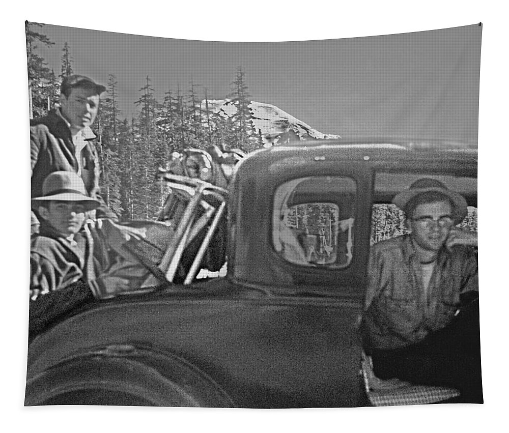 T04902 Tapestry featuring the photograph T-04902 Travelling To Climb In Style 1955 by Ed Cooper Photography