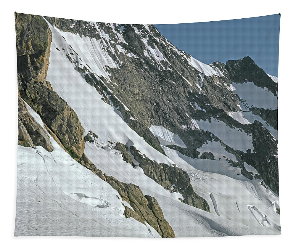 Fred Beckey Tapestry featuring the photograph T-104406-b Fred Beckey Below Forbidden Peak by Ed Cooper Photography