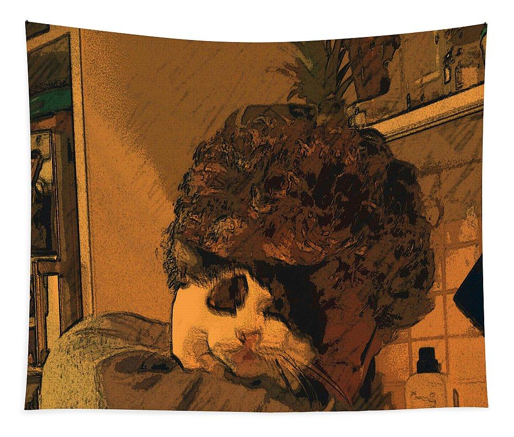 Cat Tapestry featuring the digital art T E G by Tila Gun