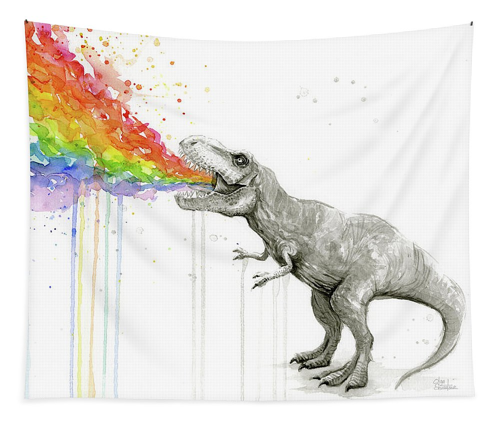 T-rex Tapestry featuring the painting T-Rex Tastes the Rainbow by Olga Shvartsur
