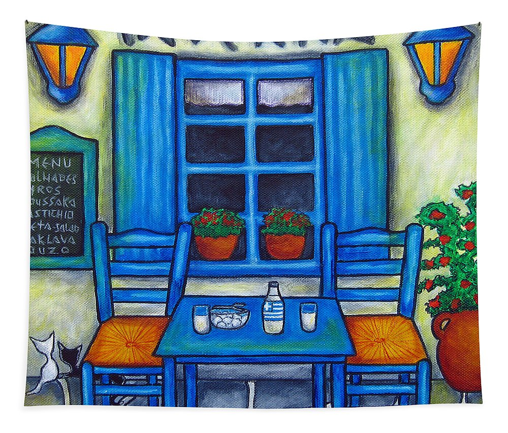 Blues Tapestry featuring the painting Table for Two in Greece by Lisa Lorenz
