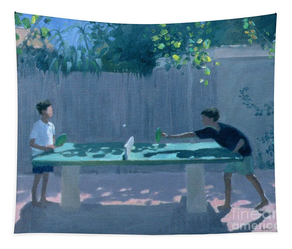 Ping Pong Tapestry featuring the painting Table Tennis by Andrew Macara