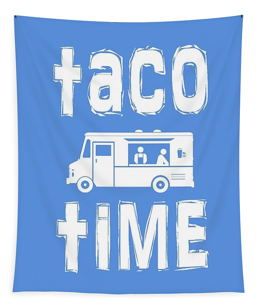 Taco Tapestry featuring the digital art Taco Time Food Truck Tee by Edward Fielding