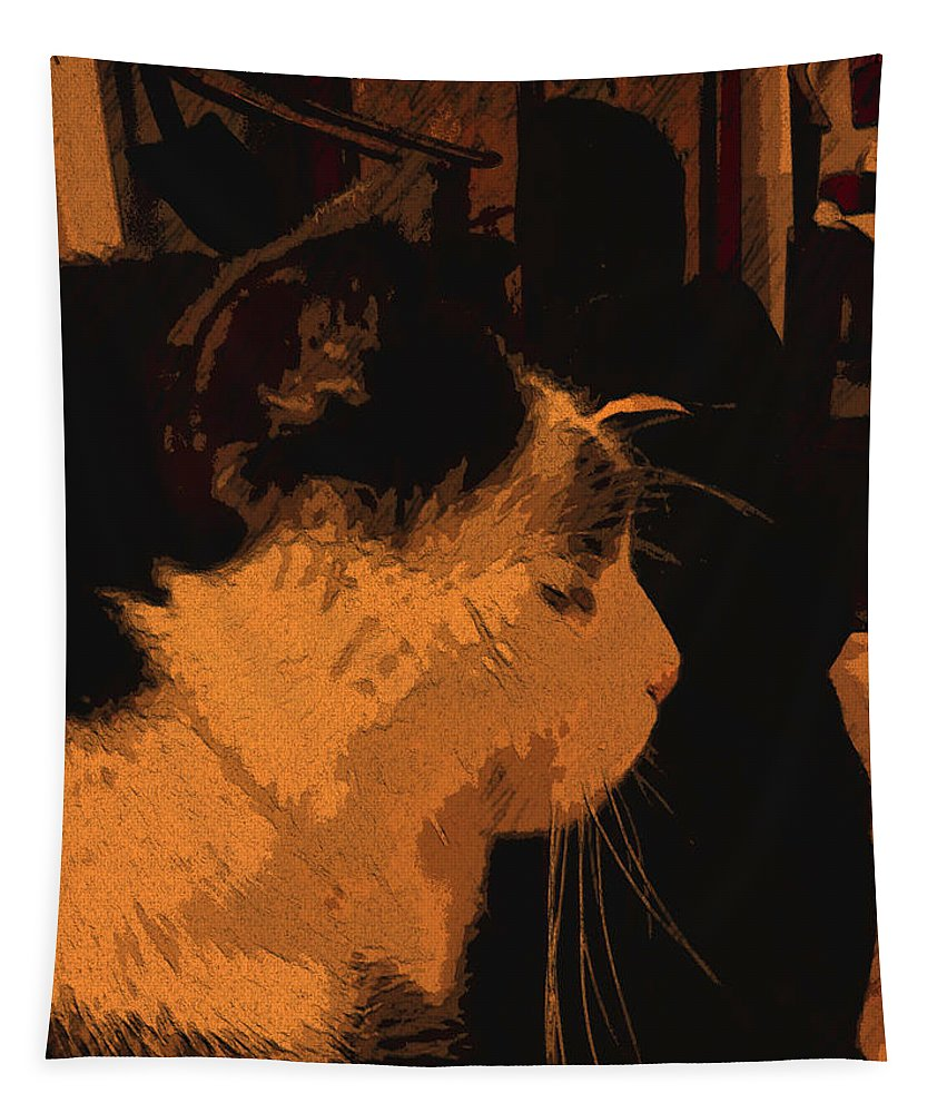 Catscape Tapestry featuring the digital art Taddeo B by Tila Gun