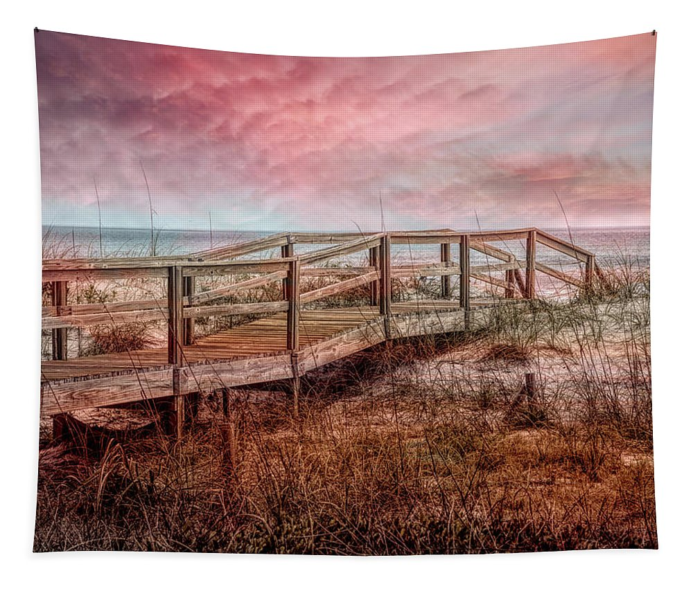 Clouds Tapestry featuring the photograph Take A Long Walk Into Dawn by Debra and Dave Vanderlaan