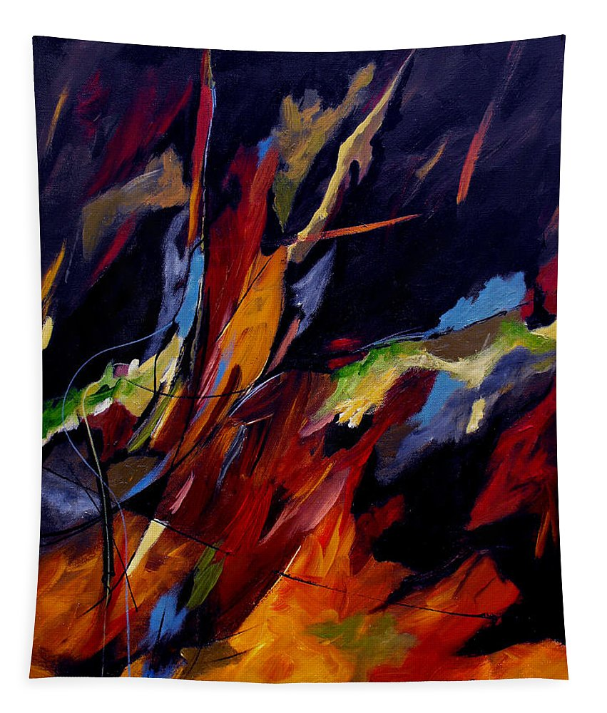Abstract Tapestry featuring the painting Take Action by Ruth Palmer