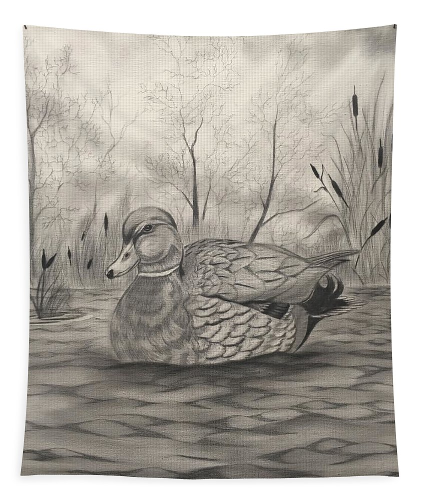 Duck Tapestry featuring the drawing Takin It Easy by Glen Mcclements