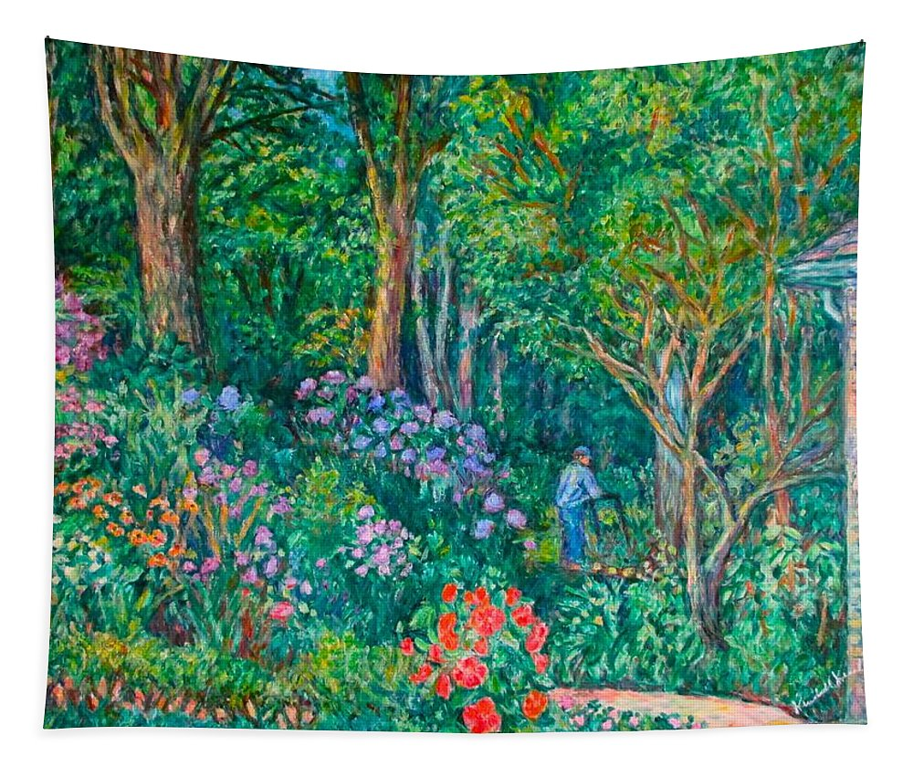 Suburban Paintings Tapestry featuring the painting Taking A Break by Kendall Kessler
