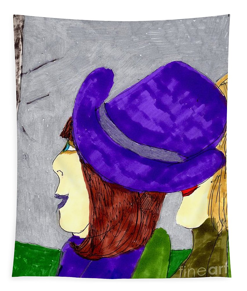 2 Ladies On A Break Watching Tv Tapestry featuring the mixed media Talk Show Hide Out by Elinor Helen Rakowski