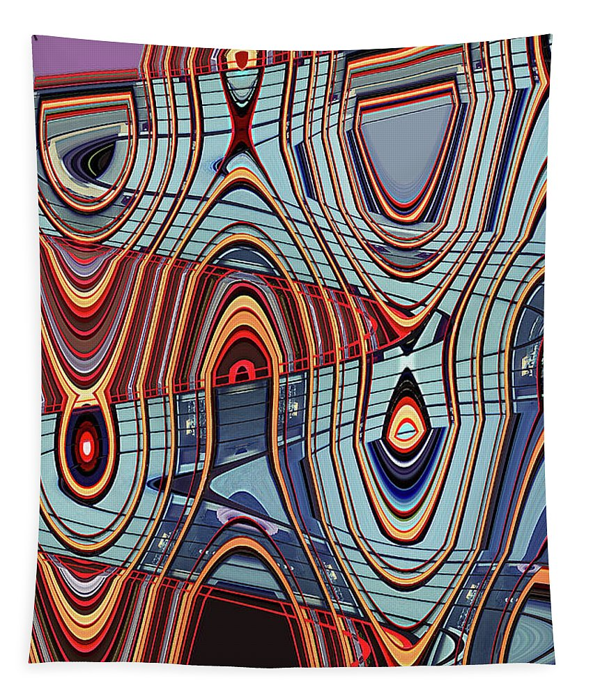 Tall Building Showing Colors Tapestry featuring the digital art Tall Building Showing Colors by Tom Janca