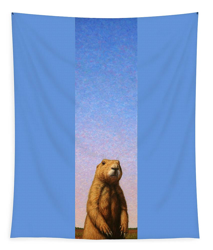 Prairie Dog Tapestry featuring the painting Tall Prairie Dog by James W Johnson