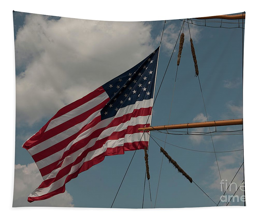 Old Glory Tapestry featuring the photograph Tall Ship Flag IIi by Dale Powell