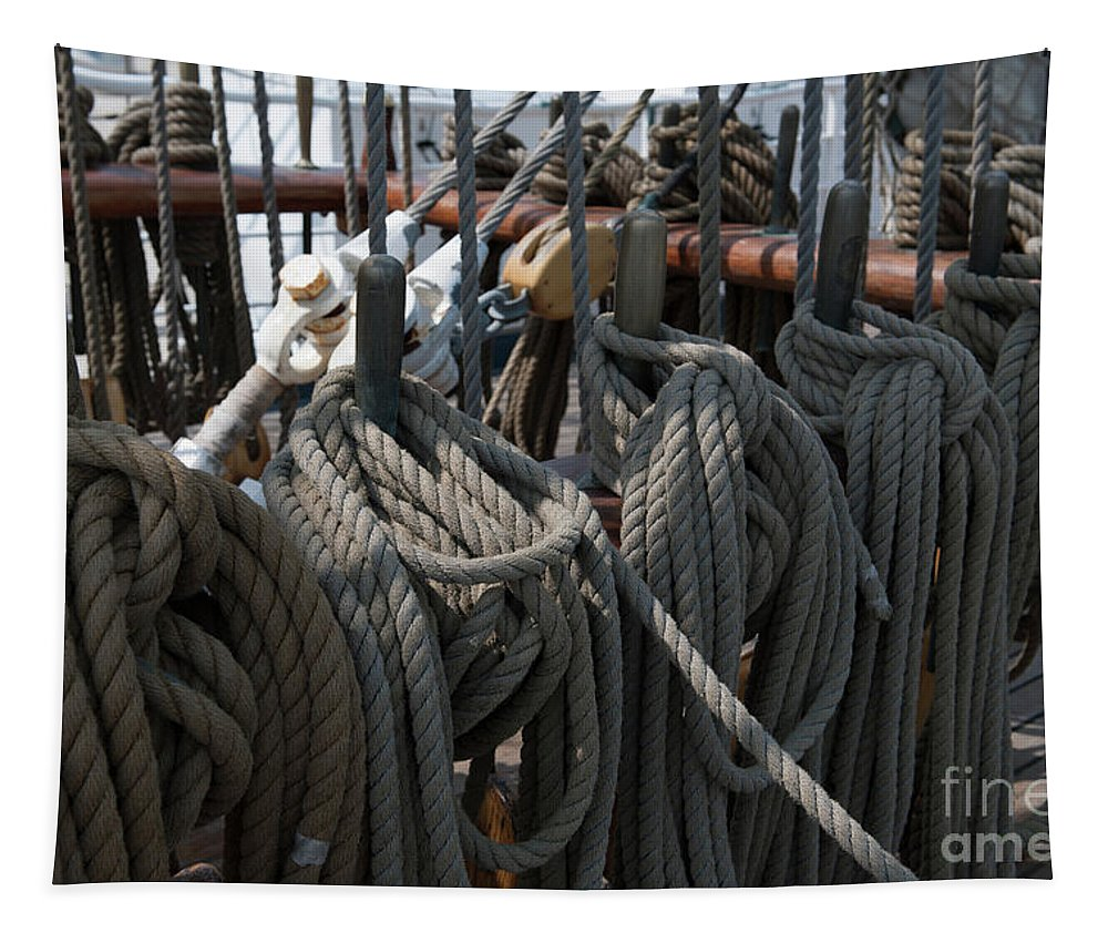 Tapestry featuring the photograph Tall Ship Lines V by Dale Powell