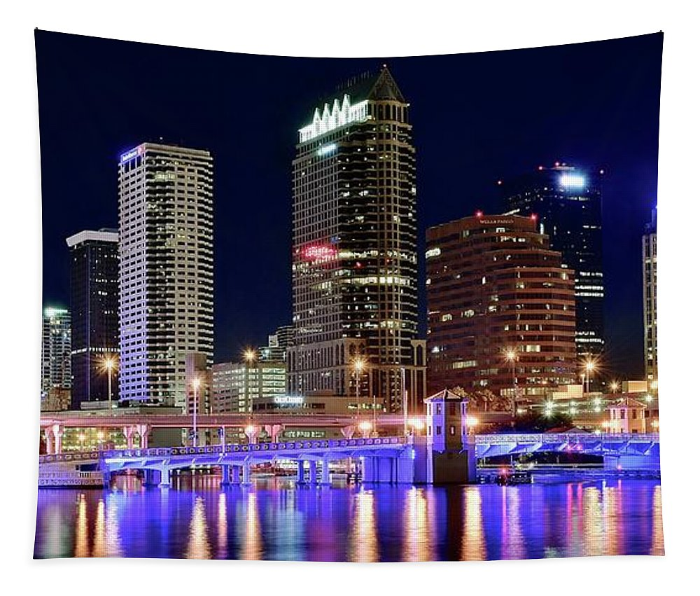 Tampa Tapestry featuring the photograph Tampa Bay Pano Lights by Frozen in Time Fine Art Photography