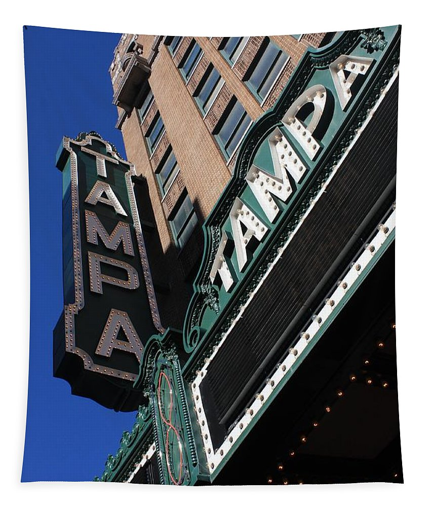 Tampa Theatre Tapestry featuring the photograph Tampa Theatre by Carol Groenen