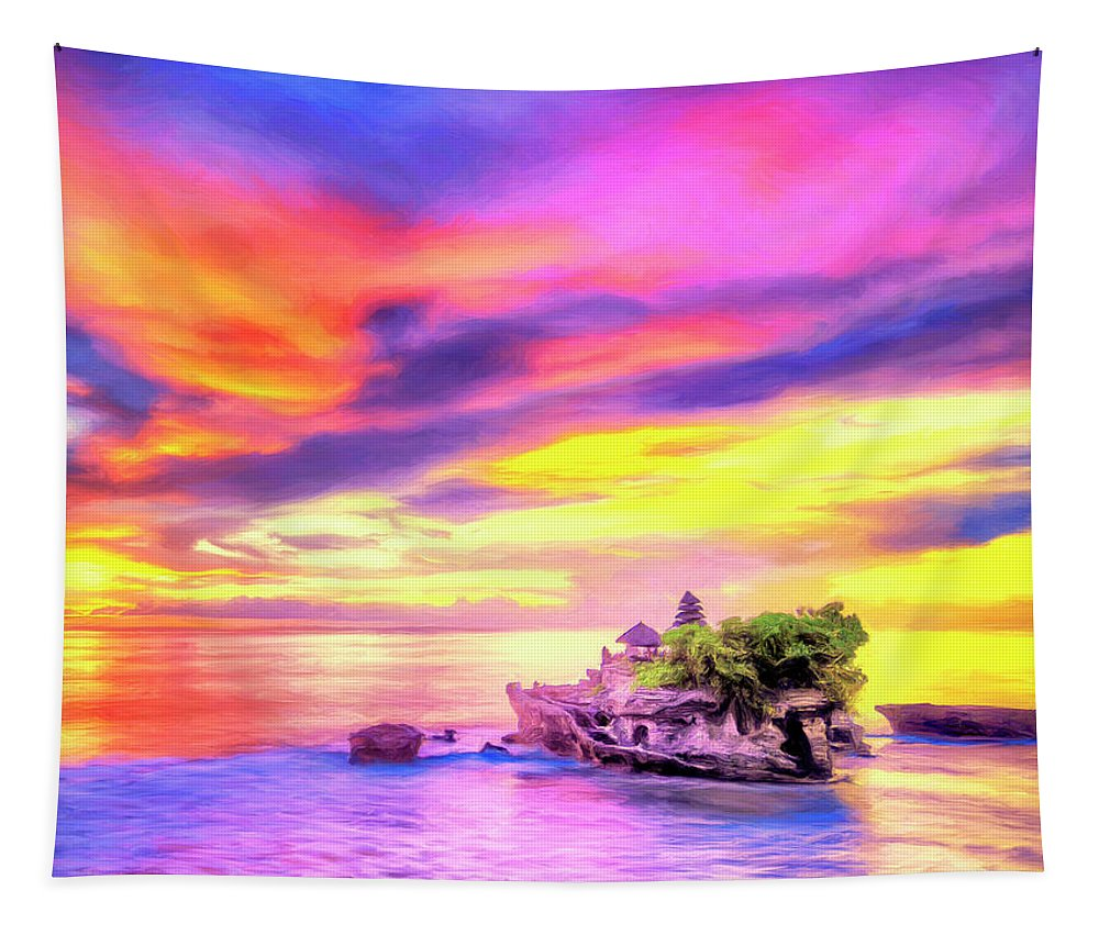 Tanah Lot Tapestry featuring the painting Tanah Lot Temple Sunset Bali by Dominic Piperata