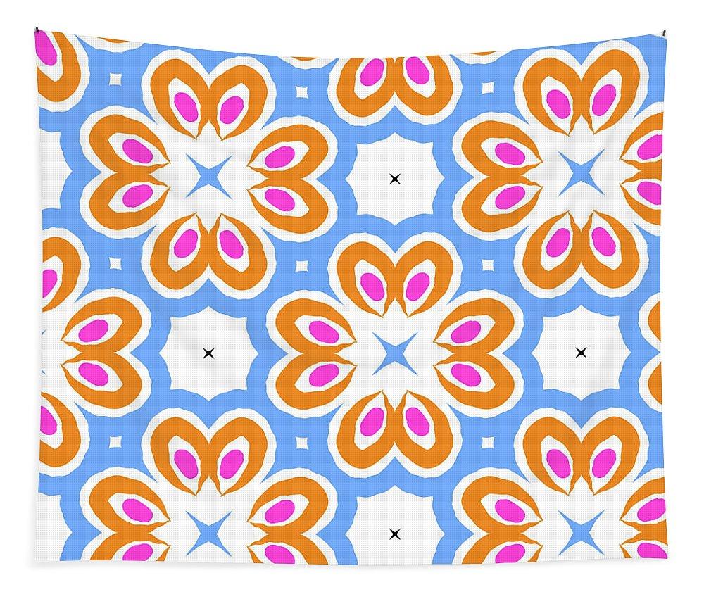 Orange Tapestry featuring the digital art Tangerine And Sky Floral Pattern- Art By Linda Woods by Linda Woods
