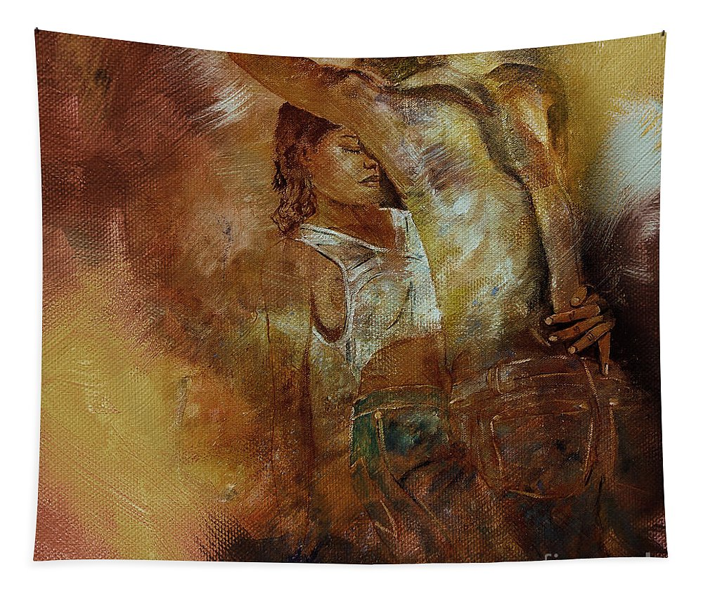 Dance Tapestry featuring the painting Tango Dance 998al by Gull G