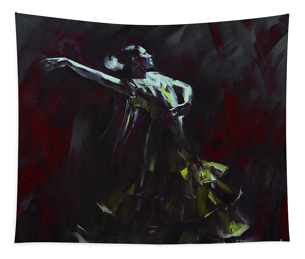 Dance Tapestry featuring the painting Tango Dancer 03 by Gull G