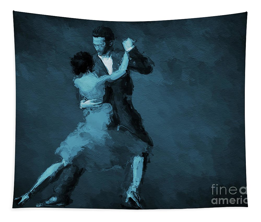 Tango Painting Tapestry featuring the photograph Tango In Blue by John Edwards