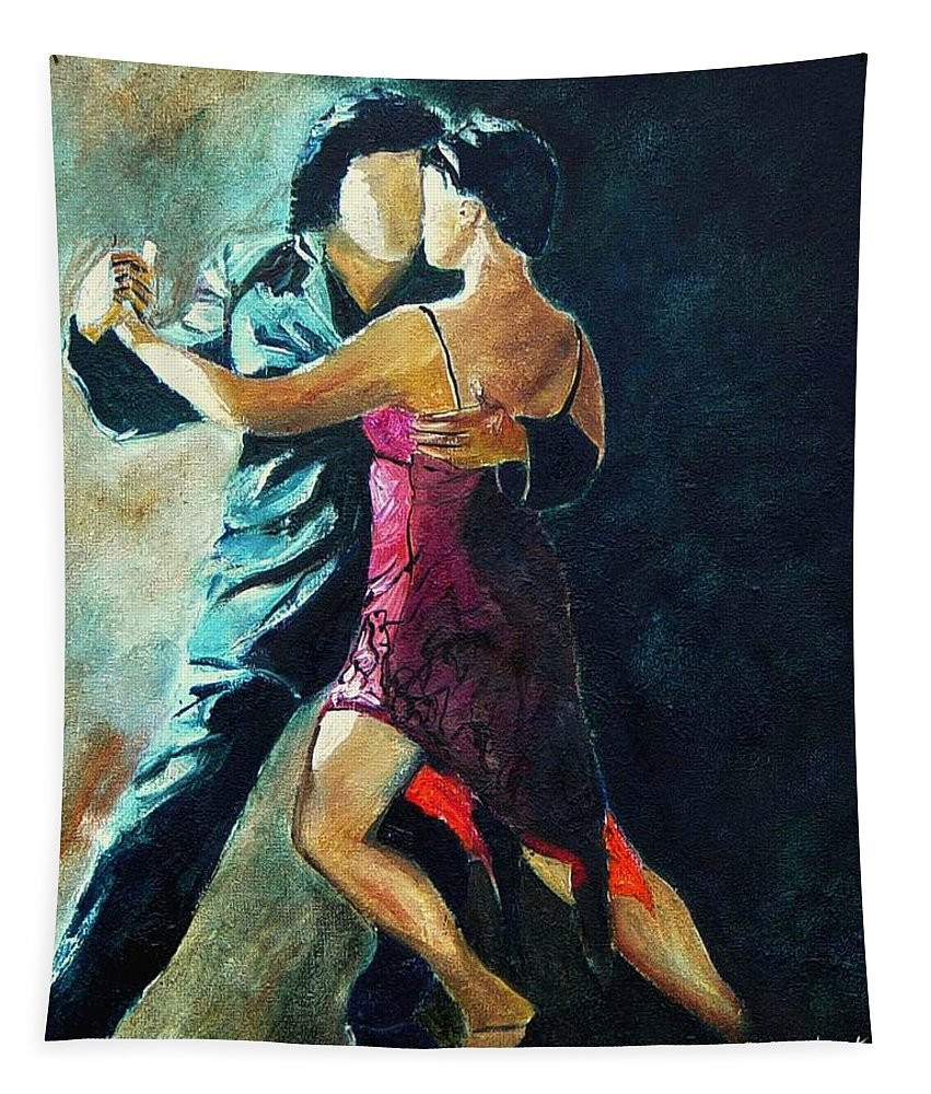 Tango Tapestry featuring the painting Tango by Pol Ledent