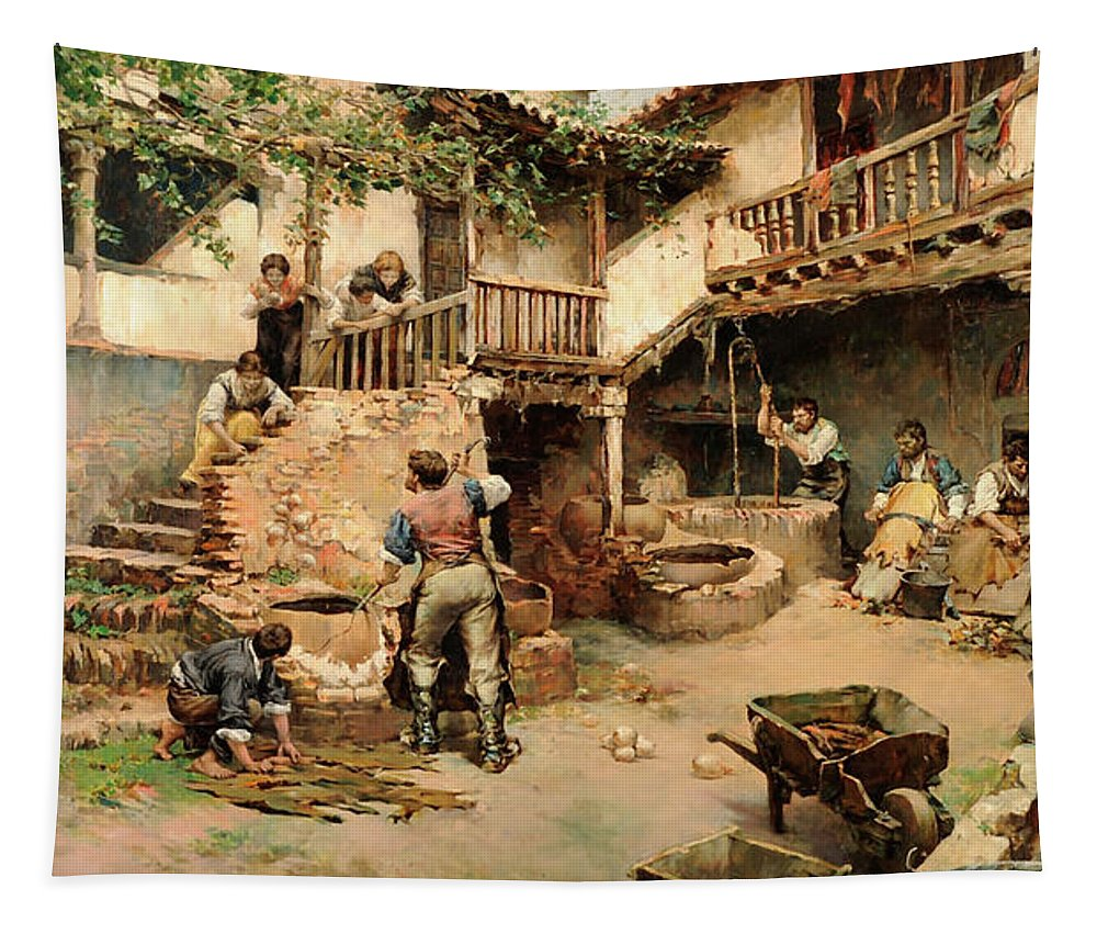 Painting Tapestry featuring the painting Tanners Workshop by Arrendo Y Calmache