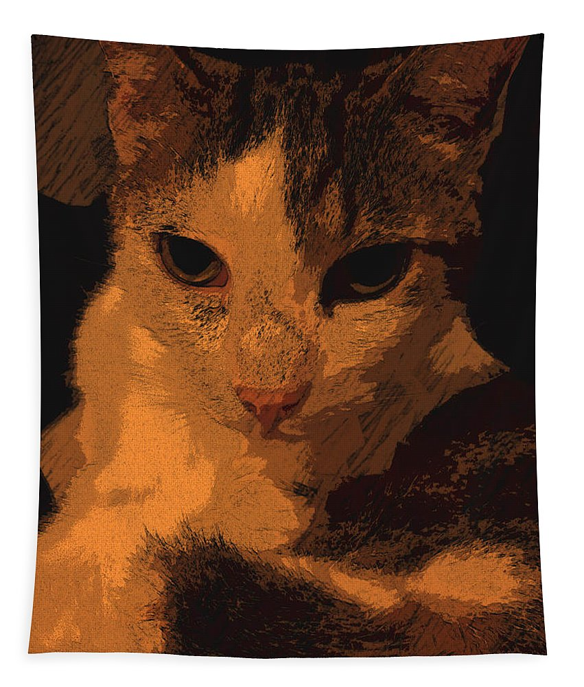 Cat Tapestry featuring the digital art Tato Primo by Tila Gun