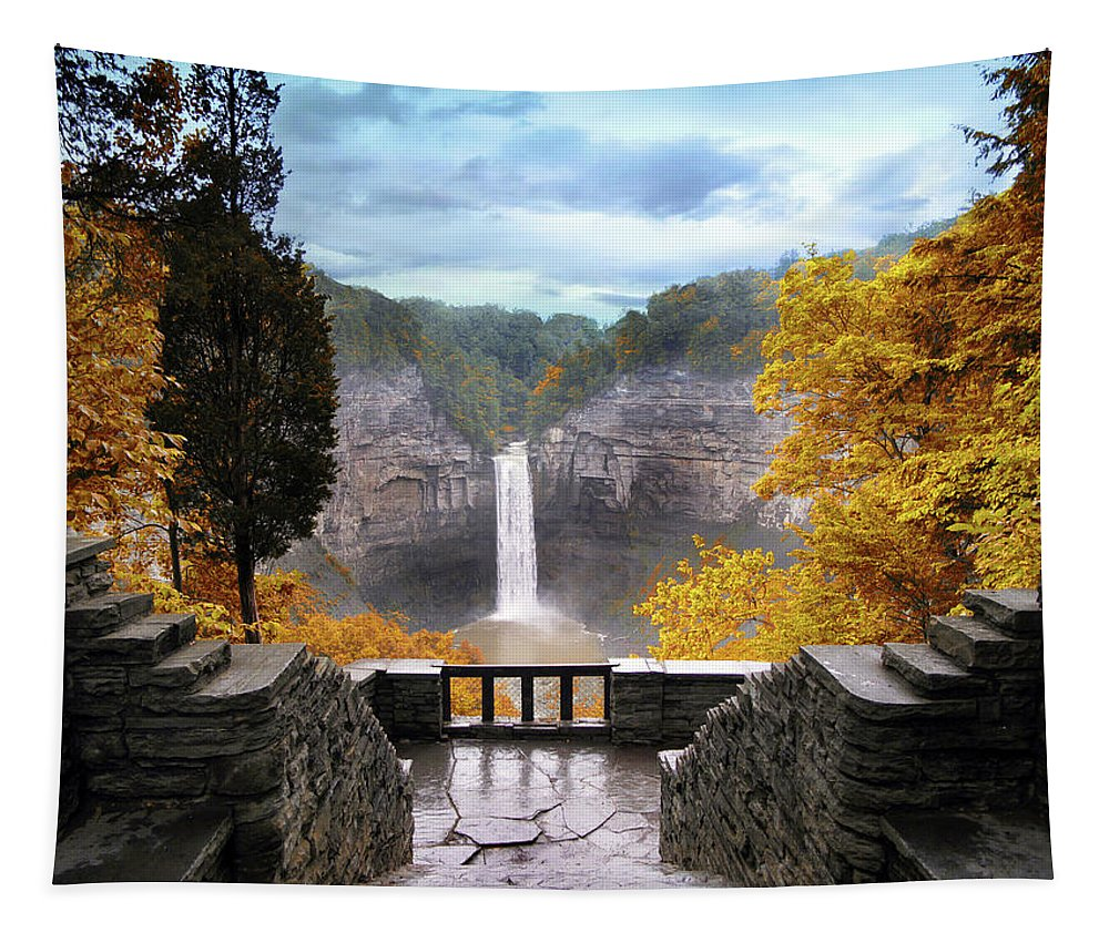Taughannock Tapestry featuring the photograph Taughannock In Autumn by Jessica Jenney