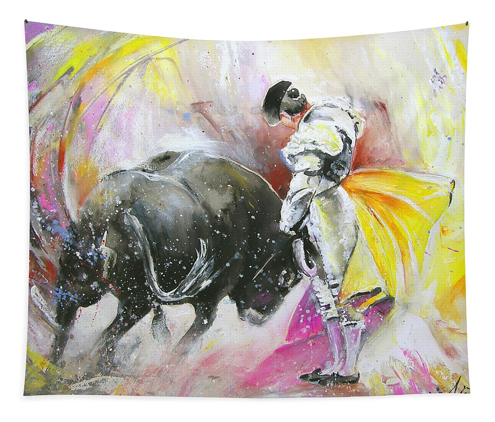 Animals Tapestry featuring the painting Taurean Power by Miki De Goodaboom
