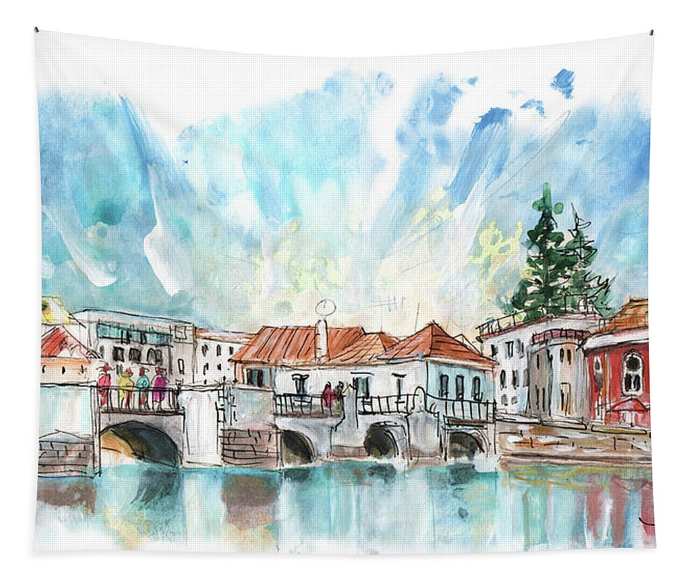 Travel Tapestry featuring the painting Tavira 08 by Miki De Goodaboom