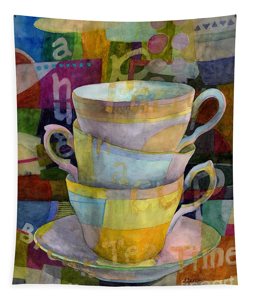 Tea Time Tapestry featuring the painting Tea Time by Hailey E Herrera