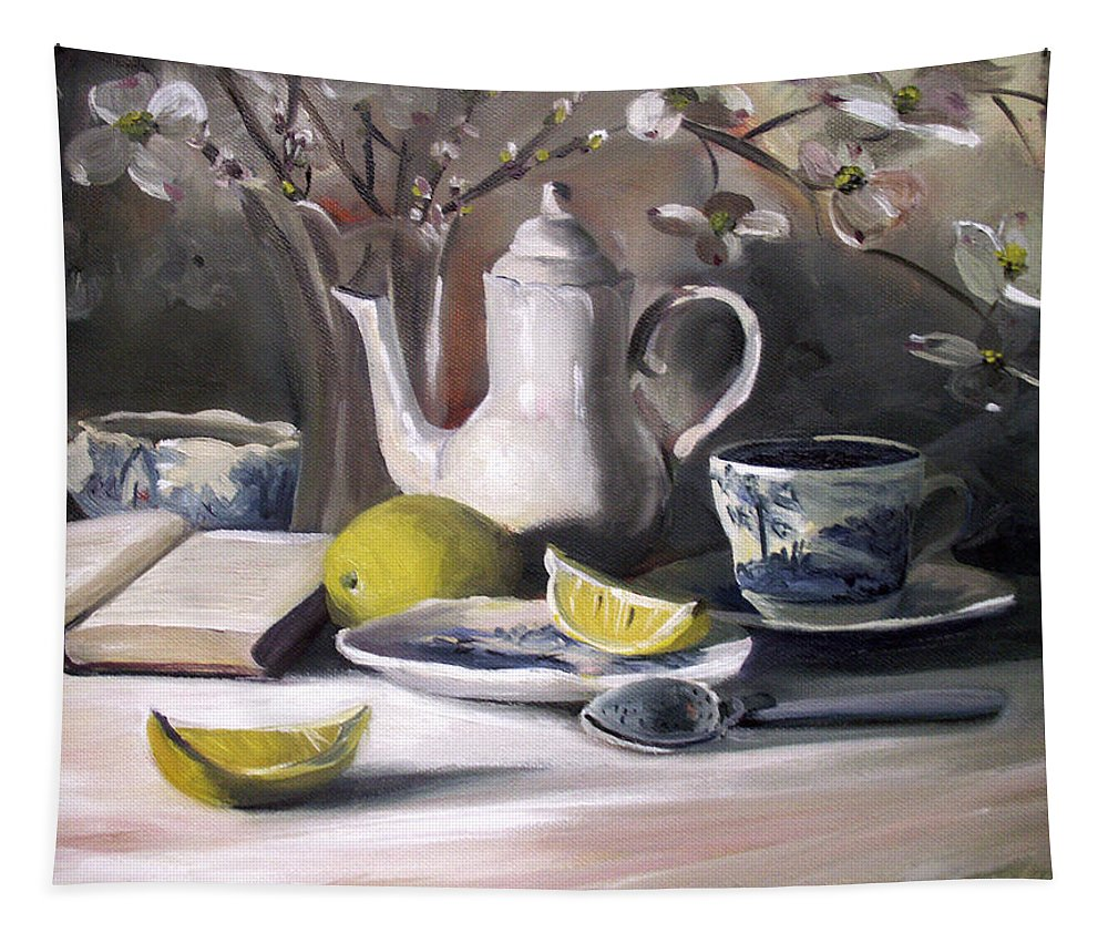 Lemon Tapestry featuring the painting Tea With Lemon by Nancy Griswold