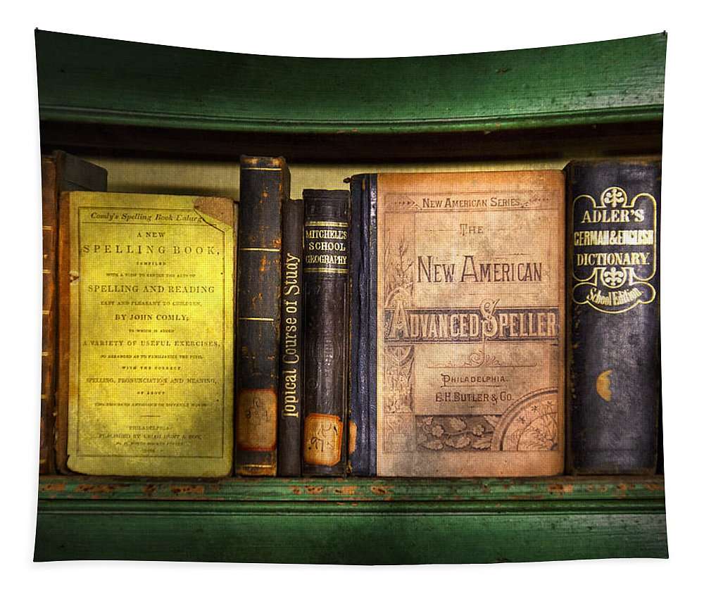 Hdr Tapestry featuring the photograph Teacher - Books You Use In School by Mike Savad