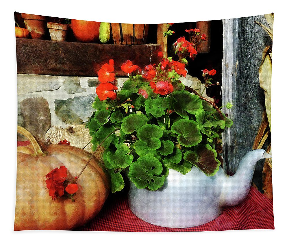 Autumn Tapestry featuring the photograph Teapot Filled With Geraniums by Susan Savad