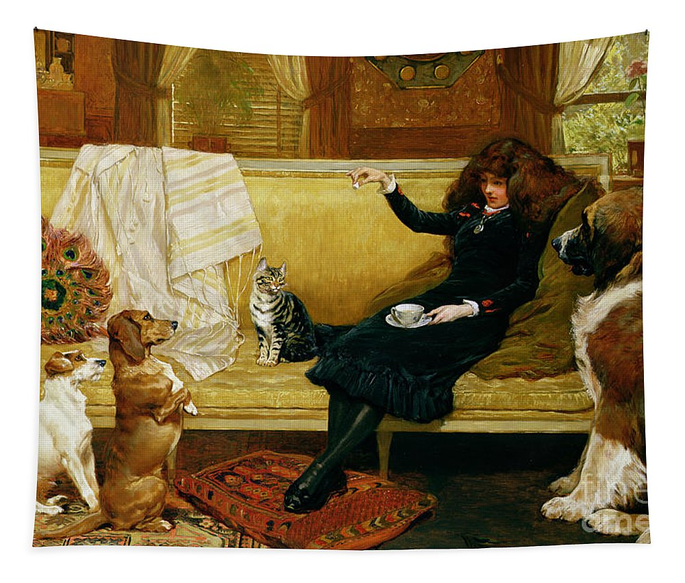 Teatime Tapestry featuring the painting Teatime Treat by John Charlton