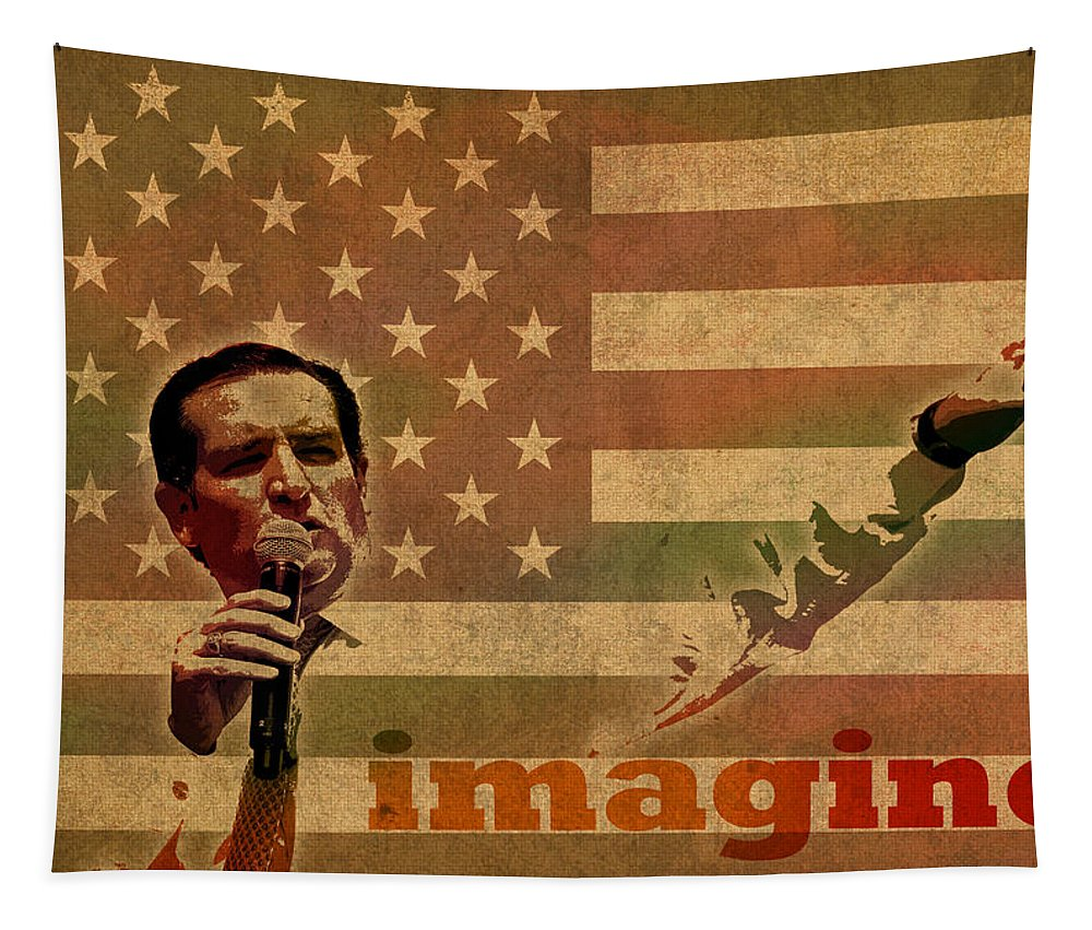 Ted Cruz Tapestry featuring the mixed media Ted Cruz For President Imagine Speech 2016 Usa Watercolor Portrait On Distressed American Flag by Design Turnpike