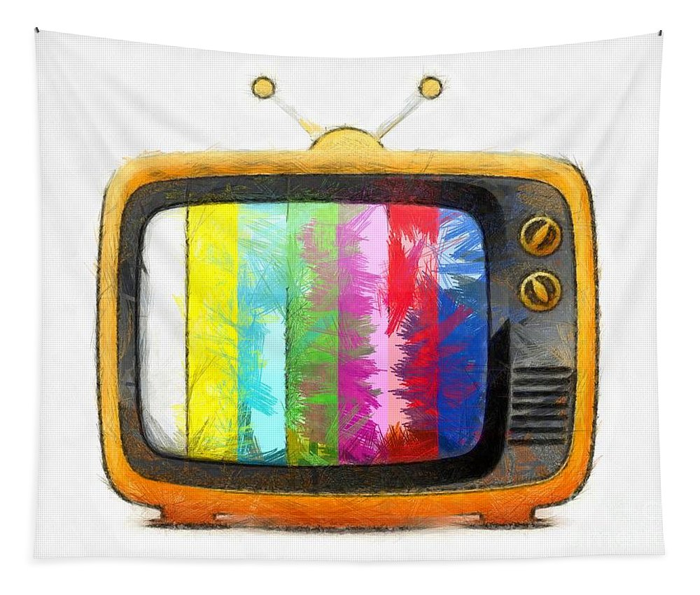 Tv Tapestry featuring the digital art Television Pencil by Edward Fielding