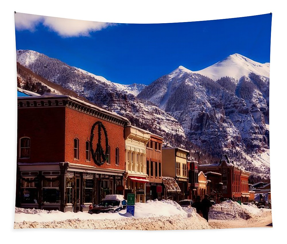 Holiday Tapestry featuring the photograph Telluride For The Holiday by Mountain Dreams